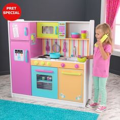 KidKraft Deluxe Big Bright Wooden Pretend Play Toy Kitchen for Kids. Birthday Toy Gift Ideas For Kids/Boys/Girls. Fun Toys For Kids/Boys/Girls. Kitchen Sets For Kids, Kids Play Kitchen, Play Kitchen Sets, Play Kitchens, Bright Kitchens, Walmart Toys, Walmart Deals, Cooking Toys, Multiplication For Kids