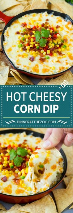 This hot corn dip is made with two types of cheese, bacon, bell peppers and corn, all baked to golden and bubbly perfection. Corn Dip Recipes, Best Appetizer Recipes, Appetizers, Healthy Recipes, Dinner Recipes, Tailgating Recipes, Simple Recipes, Party Recipes, Party Snacks