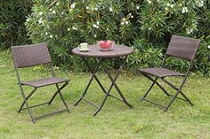 Balcony Make Over  3 pc Casual Patio Outdoor Graden Deck Foldable Folding Set. PE Resin Wicker 2 Chairs and 1 Table *** This is an Amazon Associate's Pin. Details on product can be viewed on the website by clicking the VISIT button.