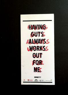 GUTS - Stefan Sagmeister by Lucy Tian, via Behance