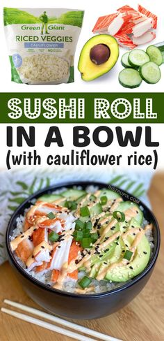 If you're looking for quick and easy on the go lunch ideas for work, these keto sushi bowls are amazing! They are so simple to make ahead with frozen cauliflower rice and the low carb sushi ingredients of your choice like crab meat, avocado and cucumber. They only take a few minutes to throw together! Great for a last minute lunch or a light dinner. Perfect for on the go because they are served cold. No cooking required! You can meal prep for the entire week. Plus, they are healthy and yummy. Healthy Cold Lunches, Easy Healthy Meal Prep, Prepped Lunches, Lunch Snacks, Easy Meals To Make, Easy Healthy Recipes, Meal Prep For The Week Low Carb, Easy Lunch Meal Prep, Meal Prep Low Carb