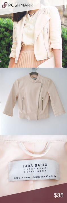 "Zara Faux-Leather Blush Jacket XS Zara blush pink faux-leather jacket featuring asymmetrical zip closure, zip pockets, collar button closure, and 3/4 sleeves. Fully lined. Good condition-worn 3x, *faint dots at center back (image #6) & faint marks around the right armhole (image #7,8). Smoke/pet-free home. Feel free to ask questions! All images used are my own. Front length (shoulder to hem): 19 1/2"" Bust: 34"" Slv Length: 16"" Zara Jackets & Coats"