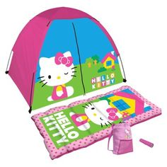 Hello kitty sleeping bag and tent with flash light! Licensed 4 Piece Kit - Girls