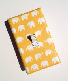 Yellow Elephant Nursery Decor / Light Switch Plate / Kawaii Baby Gender Neutral / Girl or Boy Twins. $9.00, via Etsy.