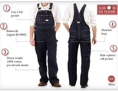 966 Blue Denim Overalls Made in USA
