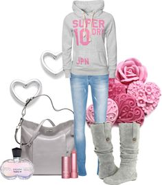 """""""Gray and Pink"""" by leelee107 ❤ liked on Polyvore"""
