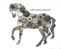LIGHT SILVER HORSE 8x10 Button Art Button Artwork by CherCreations