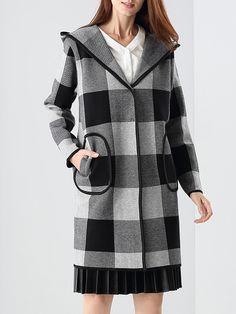 #AdoreWe #StyleWe Coats - NATURAL HOUSE Pockets Long Sleeve Cotton-blend Hoodie Checkered/Plaid Coat - AdoreWe.net