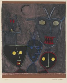 Paul Klee (1879-1940), Daemonische Marionetten (Demonic Puppets), 1929 (48). Gouache and pen on linen laid down on card. Composition: 37cm H x 25cm W.