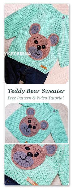 Teddy Bear Sweater By ByKaterina - Free Crochet Pattern - (by-katerina) Crochet Amigurumi, Crochet Teddy, Crochet Toys, Pull Crochet, Free Crochet, Boy Crochet Patterns, Teddy Bear Pictures, Pull Bebe, Baby Pullover