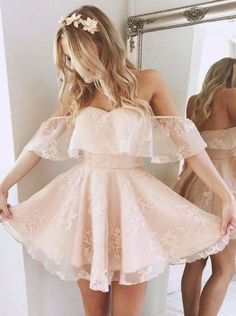 A-Line Off-the-Shoulder Short Pearl Pink Lace Homecoming Dress,Party Dress,Evening Dress 988702018promdresses#promdress#graduationdress#eveningdress#dress#dresses#gowns#partydress#longpromdress