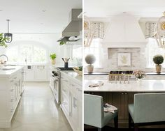 Left: An all-white palette makes for a clean and bright kitchen by Pimlico Interiors in Greenwich, CT | Right: A stylish oasis in the busiest room of the house by Charlotte, NC=based Mary Tobias Miller Interior Design