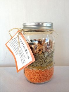 DIY Lentil Soup Gift in a Mason Jar #upcycle