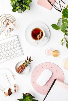 Styled Stock Photography Blush and Greenery Desk Collection #13
