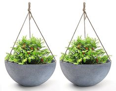 Hanging Planters Large In Resin Flower Pots Outdoor, Garden Planters for Plants, Large Grey, Set of 2 for Mothers Day Gift Large Hanging Planters, Hanging Flower Pots, Flower Planters, Planter Pots, Hanging Baskets, Hanging Plants Outdoor, Resin Planters, Planter Ideas, Outdoor Pots