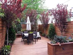Urban Small Rear Yard Landscape Design by NewYorkPlantings Garden Designers NYC Custom built Brooklyn brownstone rear yard with New York Plantings Garden Design designed and built fence, deck,. Small Yard Landscaping, Backyard Ideas For Small Yards, Small Backyard Design, Landscaping Ideas, Patio Design, Manhattan, Small Back Gardens, Garden Buildings, Rooftop Garden