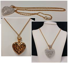 "Swarovski Yellow Gold & Crystal Heart Pendant Necklace 32"" #Swarovski #pendant #necklace #heart #gold #crystal"