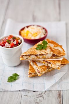 Chicken & Black Bean Quesadilla - supper tonight with some homemade salsa.