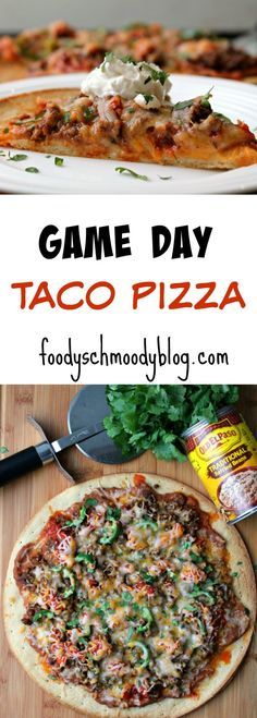 GAME DAY TACO PIZZA by foodyschmoodyblog.com Score Big in Flavor when you create this super easy and quick new twist on game day pizza.  Beginning to end, this recipe takes 20 minutes, leaving you plenty of time for cheering on your favorite team.  AD #OEPGameDay @oldelpaso