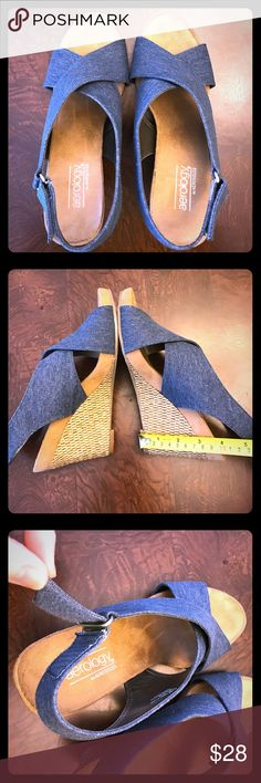 Aerology high heel sandals Like new high heel sandals. Blue denim upper in perfect condition. Velcro on back strap Aerology Shoes Sandals