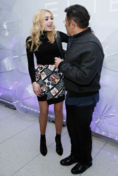 Peyton List - There was also this amazing (and cozy!) turtleneck-and-print-skirt combo she wore at the Elie Tahari show.