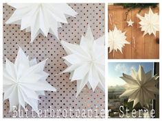 Butterbrottütensterne, Sterne aus Butterbrotpapier, Stern aus Papiertüten, schnelles DIY, für Kinder und Senioren