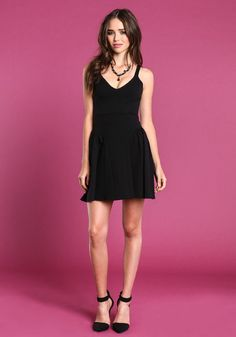 Black Shadow Stripe Dress #LBD #dress #skater #fitandflare #classic #holiday #dress #loveculture