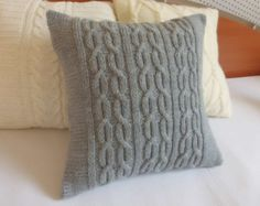 Custom knit pillow cover gray, charcoal knit pillow case, hand knit cushion cover, decorative pillow, throw pillow cover