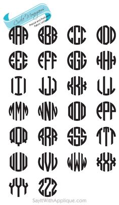 circle monogram fonts craft ideas diy pinterest monogram