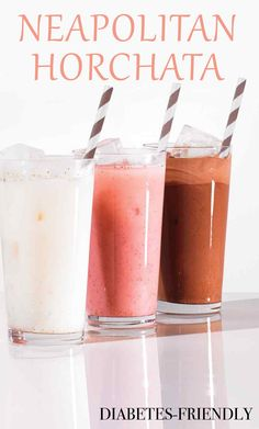 Neapolitan Horchata | Martha Stewart Living - A lighter take on a milkshake, this slurpable dairy-free dessert combines rice milk with a touch of agave nectar and cinnamon. Add strawberries or chocolate for a tasty variation.