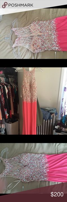Prom Dress Prom dress wore  once still some what new the color of the dress is coral with silver and pink jewels. cinderella devine Dresses Prom