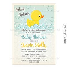 Rubber Duck Invitation  Baby Shower  Birthday  by PinkPaperTrail