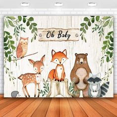 Fotos Baby Shower, Deco Baby Shower, Baby Shower Backdrop, Baby Shower Photos, Banner Backdrop, Birthday Backdrop, Birthday Decorations, Party Animals, Woodland Creatures