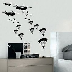 ARMY TROOPS wall sticker solider stickers vinyl home boys kids bedroom soliders