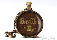 Once Upon A Time Book Cover Glass Dome Necklace in by NerdyTreats, $15.00