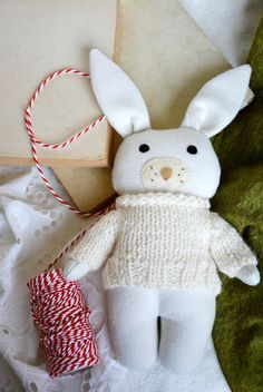 White soft toy, baby's first christmas stocking filler, stuffed animal bunny, toddler toy, the white rabbit toy by Fernlike on Etsy