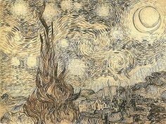 Cypresses in Starry Night ~ artist Vincent van Gogh, at Saint-Rémy; reed pen & India ink on paper, × Shchusev State Museum of Architecture, Moscow, Russia. A study executed by van Gogh after the painting. Art Van, Van Gogh Art, Van Gogh Drawings, Van Gogh Paintings, Watercolor Paintings, Van Gogh Zeichnungen, Desenhos Van Gogh, Van Gogh Pinturas, Gogh The Starry Night