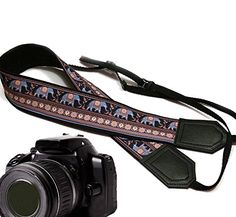 Lucky Elephants camera strap. Blue and beige Ethnic camera strap. Black DSLR / SLR Camera Strap with Indian motives. Durable, light weight and well padded camera strap. code 00180 -- You can get more details by clicking on the image.