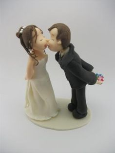 #Wedding Cake topper.  This is an example of a custom made Wedding Cake topper that I created, kissing #Bride and Groom. I can customize the dress and tux just for you!  For ... #caketopper #birthday #wedding #bride #groom