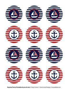 Nautical Party Printables from Ian & Lola Designs Nautical Cupcake, Nautical Party, Vintage Nautical, Baby Shower Marinero, Et Wallpaper, Sailor Party, Bottle Cap Images, Shower Banners, Girls Camp