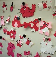 Fun! Have lots of different sizes and colors of hearts for students to create their own animal... and then write about it.
