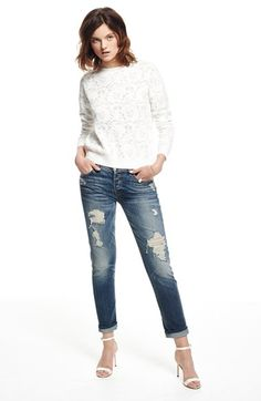 7 For All Mankind® Boyfriend Jeans & Chelsea28 Floral Jacquard Sweater available at #Nordstrom