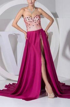 Sexy Elastic Satin Evening Dresses - Order Link: http://www.theweddingdresses.com/sexy-elastic-satin-evening-dresses-twdn7046.html - Embellishments: Split-Front , Paillette , Beaded , Sequin; Length: Court Train; Fabric: Elastic Satin; Waist: Natural - Price: 141.99USD