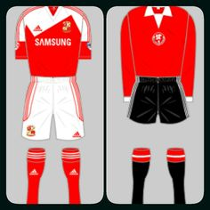 Swindon Town home kits in 2013-14 and 1972-73.