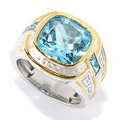 Men's en Vogue 8.87ctw Cushion Shaped Sky Blue Topaz Greek Key Ring