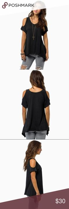 Black Cold Shoulder Tee Black Cold Shoulder tee! Flattering V neck with fishtail hem. Great Basic for your wardrobe! 100% polyester. Tops Tees - Short Sleeve