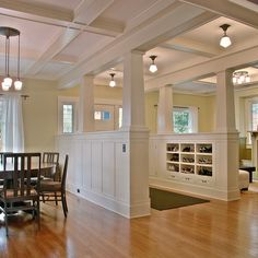 love the walled foyer.creates purpose of space love the walled foyer…blocks cold.creates purpose of space Style At Home, Open Staircase, Half Walls, Basement Remodeling, Craftsman Style, Building Design, Building Ideas, Built Ins, My Dream Home