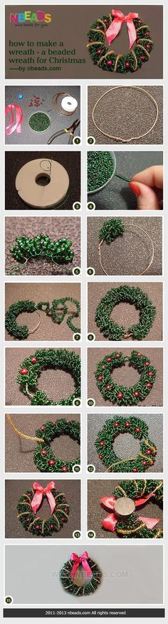 how to make a wreath - a beaded wreath for Christmas: