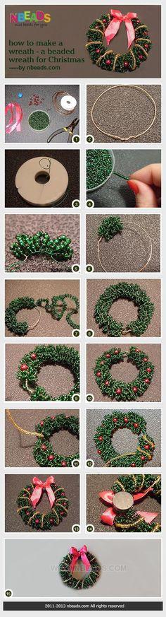 how to make a wreath - a beaded wreath for Christmas