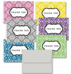Amazon.com: Damask Thank You Note Cards - 36 Note Cards for $9.99 in 6 Different Colors Including Light Gray Envelopes.: Health & Personal C...